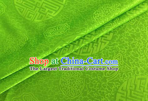 Asian Chinese Classical Longevity Pattern Design Green Brocade Jacquard Fabric Traditional Cheongsam Silk Material