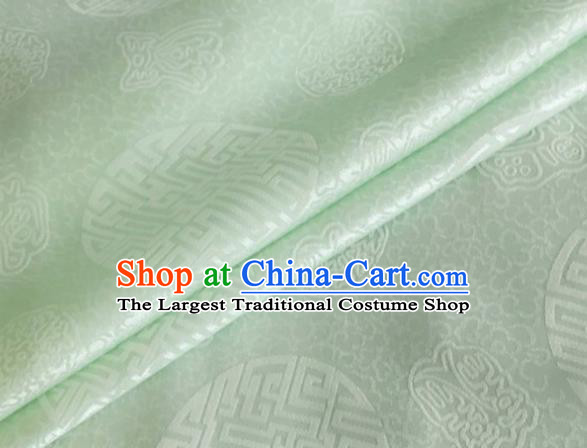 Asian Chinese Classical Longevity Pattern Design Peak Green Brocade Jacquard Fabric Traditional Cheongsam Silk Material