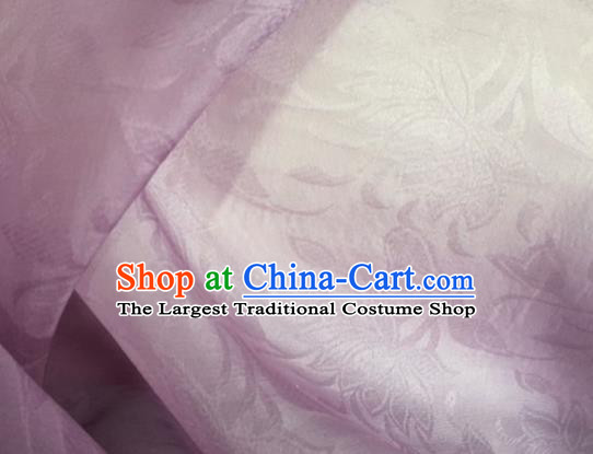 Asian Chinese Classical Lotus Pattern Design Lilac Brocade Jacquard Fabric Traditional Cheongsam Silk Material