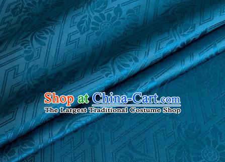 Asian Chinese Classical Daisy Pattern Design Peacock Blue Brocade Jacquard Fabric Traditional Cheongsam Silk Material