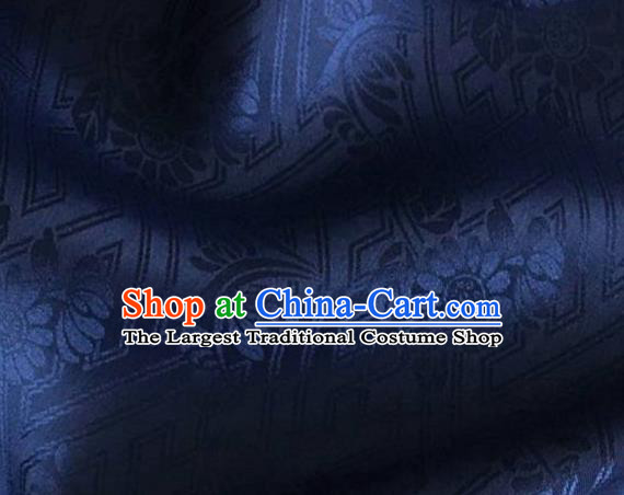 Asian Chinese Classical Daisy Pattern Design Navy Brocade Jacquard Fabric Traditional Cheongsam Silk Material