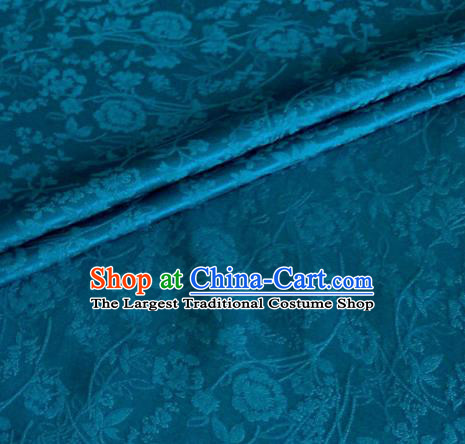 Asian Chinese Classical Jacquard Peony Pattern Design Peacock Blue Brocade Fabric Traditional Cheongsam Silk Material