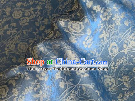 Asian Chinese Classical Jacquard Peony Pattern Design Blue Brocade Fabric Traditional Cheongsam Silk Material