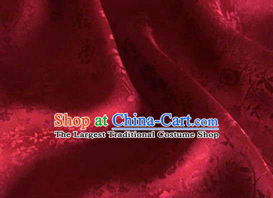 Asian Chinese Classical Jacquard Peony Pattern Design Wine Red Brocade Fabric Traditional Cheongsam Silk Material