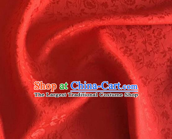 Asian Chinese Classical Jacquard Peony Pattern Design Red Brocade Fabric Traditional Cheongsam Silk Material
