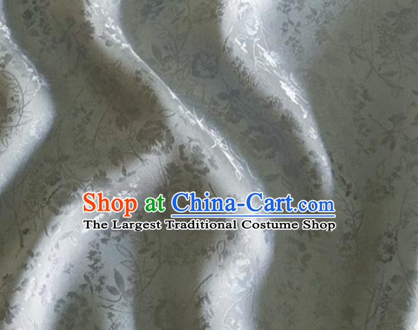 Asian Chinese Classical Jacquard Peony Pattern Design Light Grey Brocade Fabric Traditional Cheongsam Silk Material