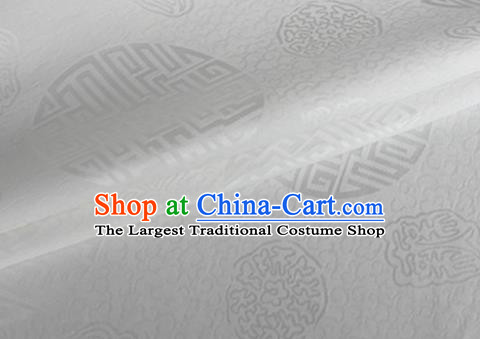 Asian Chinese Classical Longevity Pattern Design White Brocade Jacquard Fabric Traditional Cheongsam Silk Material