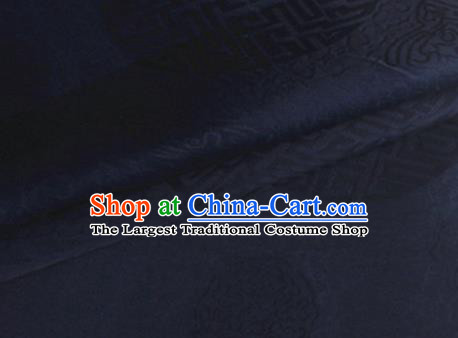 Asian Chinese Classical Longevity Pattern Design Navy Brocade Jacquard Fabric Traditional Cheongsam Silk Material