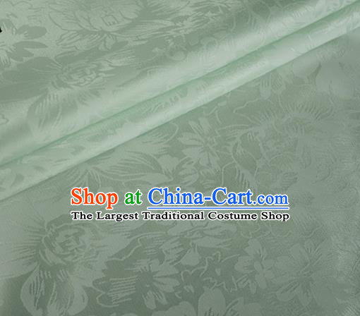 Asian Chinese Classical Rose Pattern Design Light Green Silk Fabric Traditional Cheongsam Material