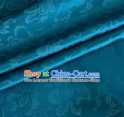 Asian Chinese Classical Ribbon Calabash Pattern Design Peacock Blue Silk Fabric Traditional Cheongsam Material
