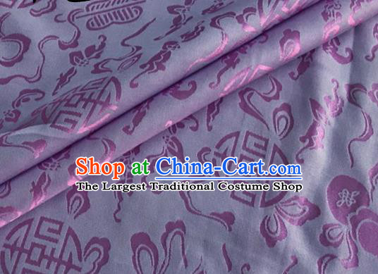 Asian Chinese Classical Ribbon Calabash Pattern Design Lilac Silk Fabric Traditional Cheongsam Material
