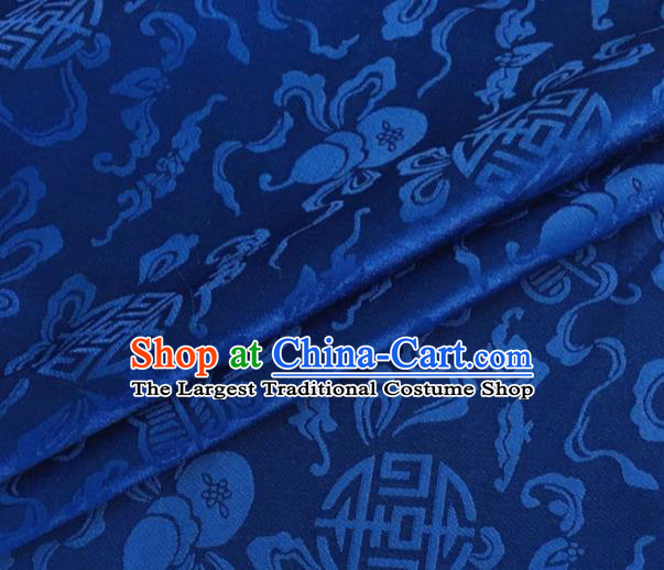 Asian Chinese Classical Ribbon Calabash Pattern Design Royalblue Silk Fabric Traditional Cheongsam Material