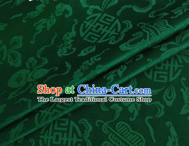 Asian Chinese Classical Ribbon Calabash Pattern Design Deep Green Silk Fabric Traditional Cheongsam Material