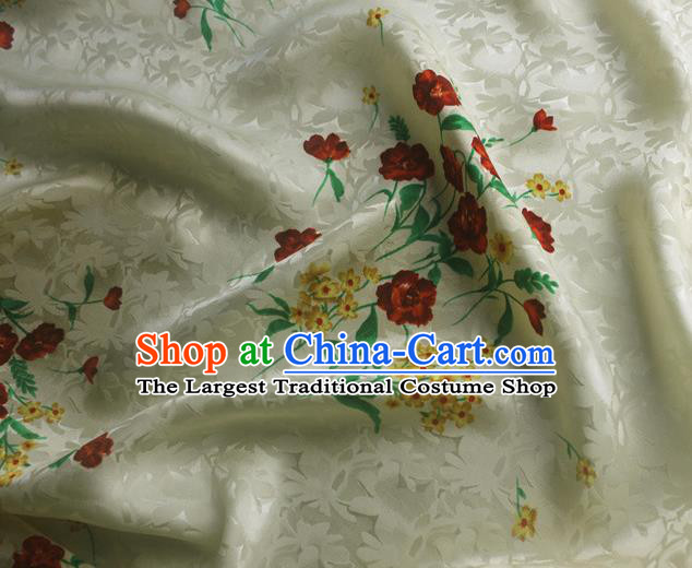 Asian Chinese Classical Printing Flowers Pattern Design Beige Silk Fabric Traditional Cheongsam Brocade Material