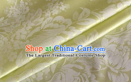 Asian Chinese Classical Peony Pattern Design Light Green Silk Fabric Traditional Cheongsam Brocade Material