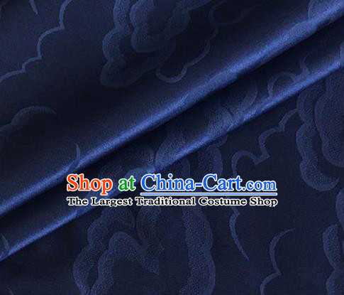 Asian Chinese Classical Cloud Pattern Design Navy Silk Fabric Traditional Cheongsam Brocade Material