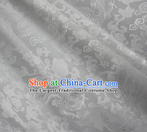 Asian Chinese Classical Peony Dragon Pattern Design White Silk Fabric Traditional Cheongsam Brocade Material