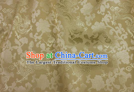 Asian Chinese Classical Peony Dragon Pattern Design Yellow Silk Fabric Traditional Cheongsam Brocade Material