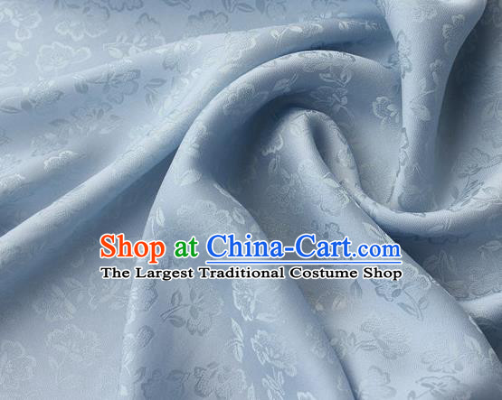 Asian Chinese Classical Flowers Pattern Design Light Blue Silk Fabric Traditional Cheongsam Brocade Material
