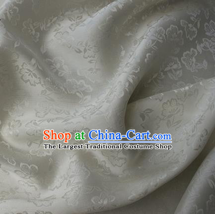Asian Chinese Classical Flowers Pattern Design White Silk Fabric Traditional Cheongsam Brocade Material