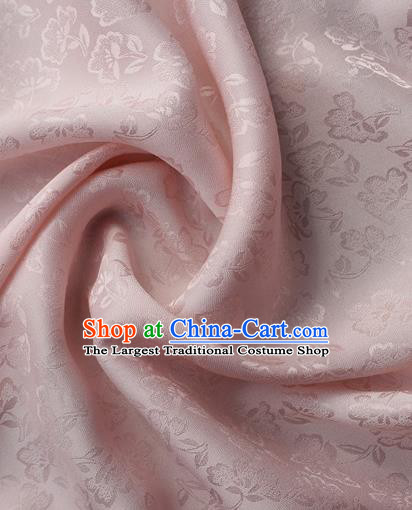 Asian Chinese Classical Flowers Pattern Design Light Pink Silk Fabric Traditional Cheongsam Brocade Material