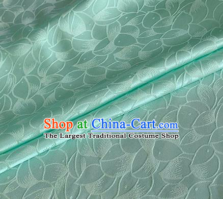Asian Chinese Classical Lotus Petals Pattern Design Light Green Silk Fabric Traditional Cheongsam Brocade Material