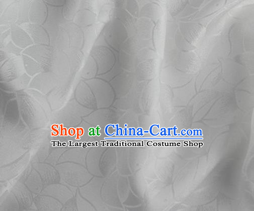 Asian Chinese Classical Lotus Petals Pattern Design White Silk Fabric Traditional Cheongsam Brocade Material