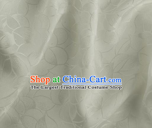 Asian Chinese Classical Lotus Petals Pattern Design Beige Silk Fabric Traditional Cheongsam Brocade Material