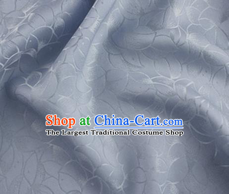 Asian Chinese Classical Lotus Petals Pattern Design Light Blue Silk Fabric Traditional Cheongsam Brocade Material