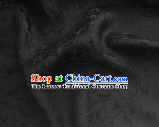 Asian Chinese Classical Lotus Petals Pattern Design Black Silk Fabric Traditional Cheongsam Brocade Material