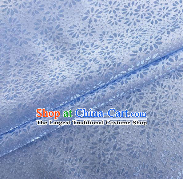 Asian Chinese Classical Jacquard Pattern Design Light Blue Brocade Fabric Traditional Cheongsam Silk Material