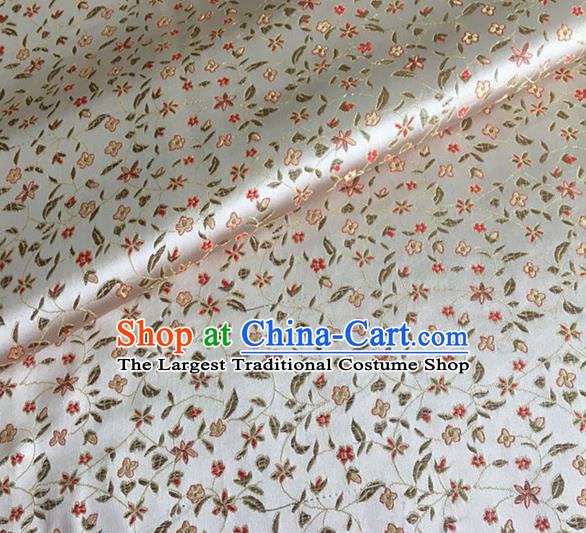 Asian Chinese Classical Pepper Flowers Pattern Design White Brocade Fabric Traditional Cheongsam Silk Material