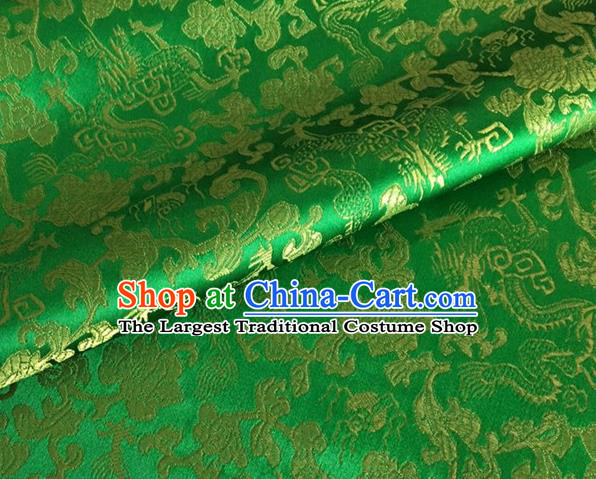 Asian Chinese Classical Dragon Pattern Design Green Brocade Fabric Traditional Cheongsam Silk Material