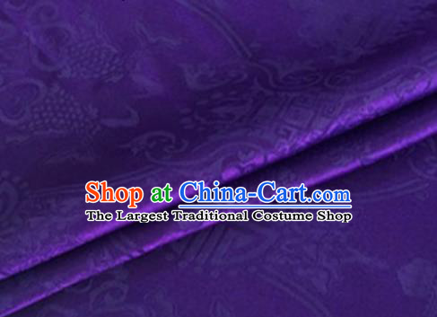 Asian Chinese Classical Double Fish Pattern Design Purple Silk Fabric Traditional Cheongsam Material