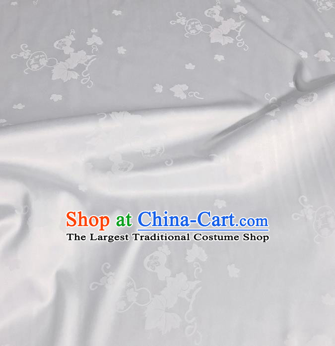 Asian Chinese Classical Gourd Leaf Petals Pattern Design White Silk Fabric Traditional Cheongsam Brocade Material