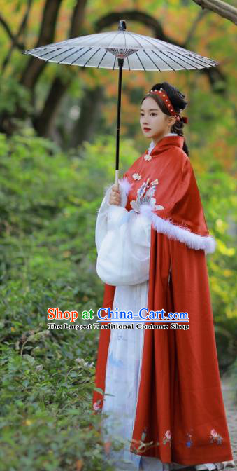 Chinese Traditional Hanfu Red Cloak Ancient Ming Dynasty Princess Costume for Women