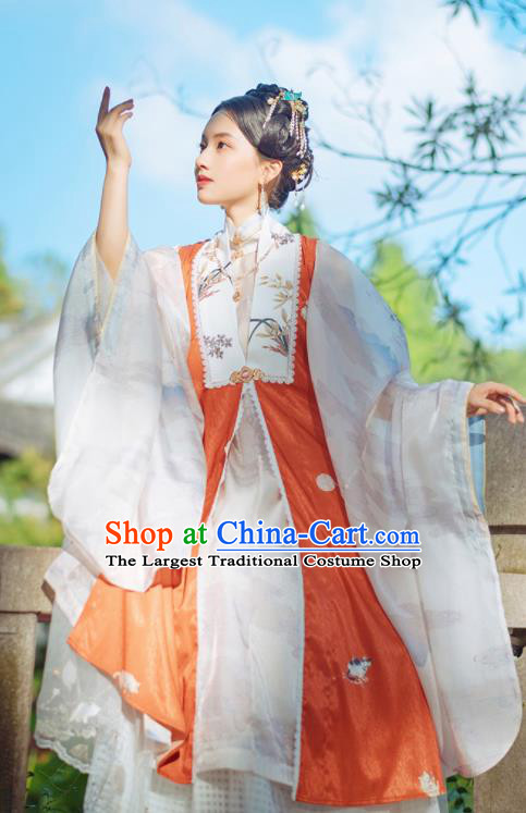 Chinese Traditional Hanfu Long Orange Vest Ancient Ming Dynasty Princess Costume for Women