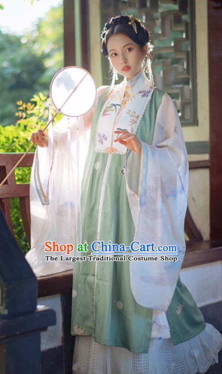 Chinese Traditional Hanfu Green Long Vest Ancient Ming Dynasty Princess Costume for Women