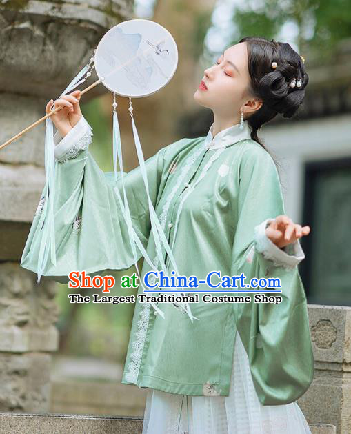 Chinese Traditional Hanfu Green Blouse Ancient Ming Dynasty Princess Costume for Women