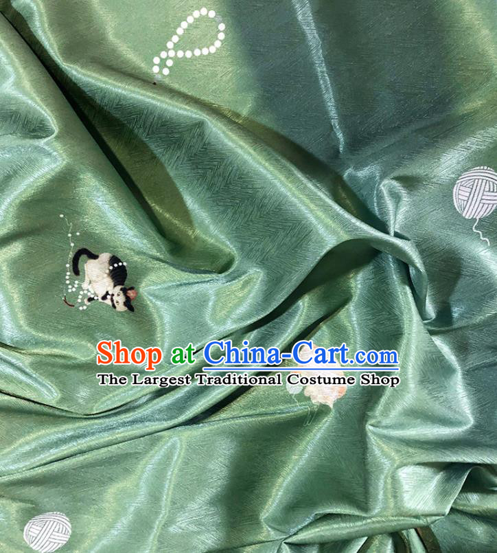 Asian Chinese Classical Cat Pattern Design Green Silk Fabric Traditional Hanfu Brocade Material