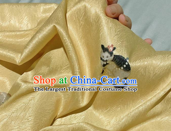 Asian Chinese Classical Cat Pattern Design Yellow Silk Fabric Traditional Hanfu Brocade Material