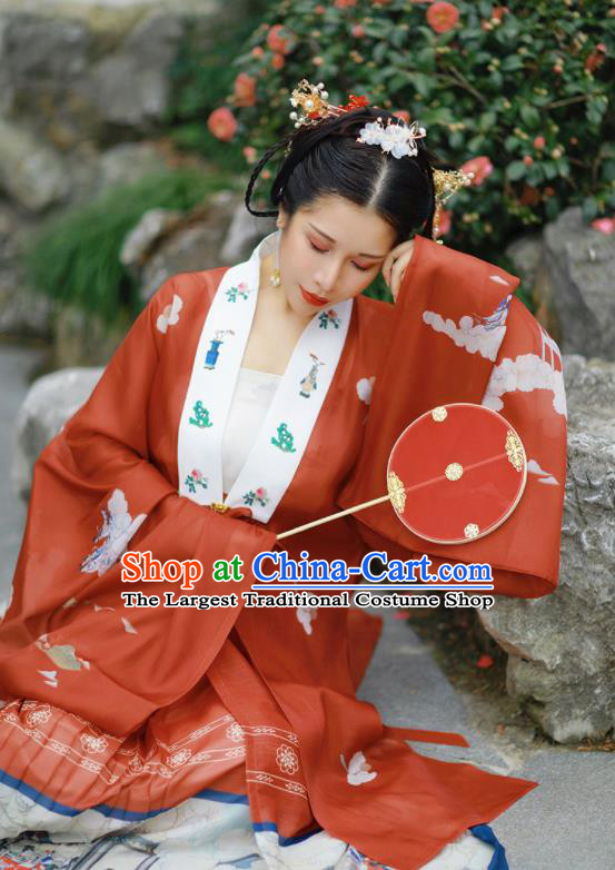 Chinese Traditional Hanfu Red Cape Ancient Ming Dynasty Princess Costume for Women