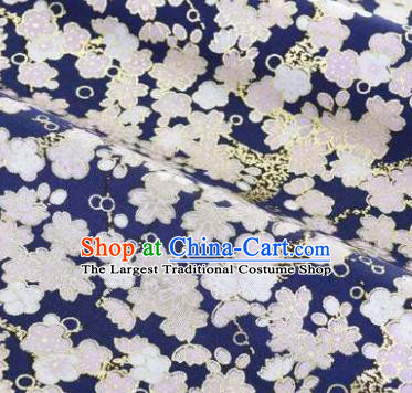 Asian Japanese Classical Sakura Pattern Design Royalblue Silk Fabric Traditional Kimono Brocade Material