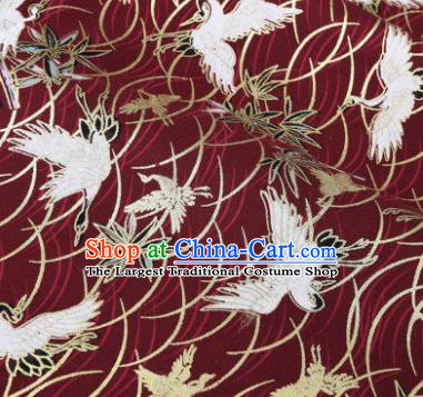 Asian Japanese Classical Crane Pattern Design Wine Red Silk Fabric Traditional Kimono Brocade Material