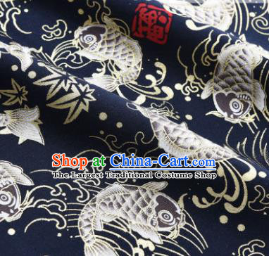 Asian Japanese Classical Carp Pattern Design Navy Silk Fabric Traditional Kimono Brocade Material