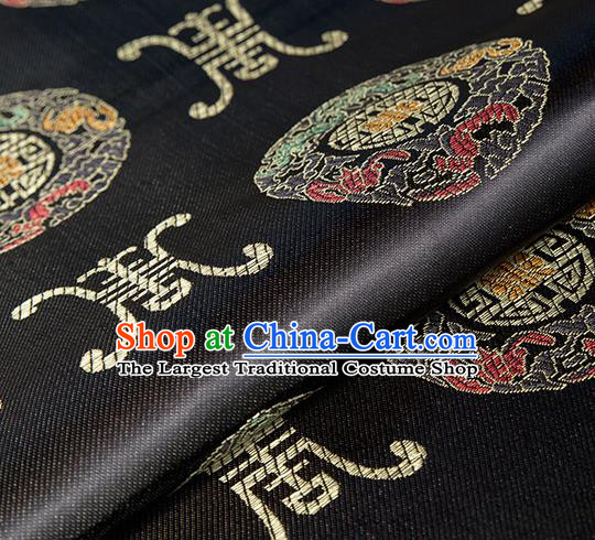 Asian Chinese Classical Lucky Pattern Design Black Silk Fabric Traditional Hanfu Brocade Material