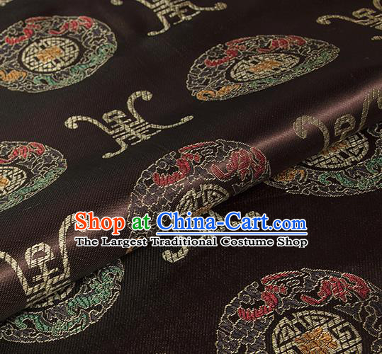 Asian Chinese Classical Lucky Pattern Design Brown Silk Fabric Traditional Hanfu Brocade Material