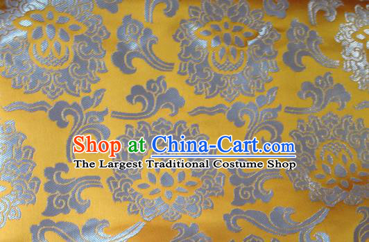 Asian Chinese Classical Lotus Pattern Design Yellow Silk Fabric Traditional Tibetan Brocade Material