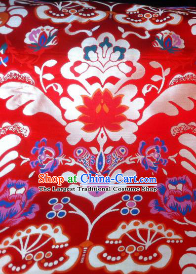Asian Chinese Classical Tibetan Pattern Design Red Silk Fabric Traditional Brocade Material