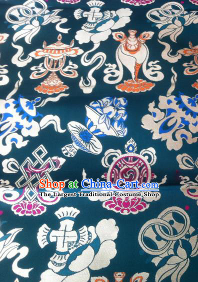 Asian Chinese Classical Tibetan Pattern Design Peacock Green Silk Fabric Traditional Brocade Material